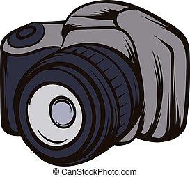 Black camera icon cartoon
