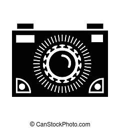 Black camera icon, simple style