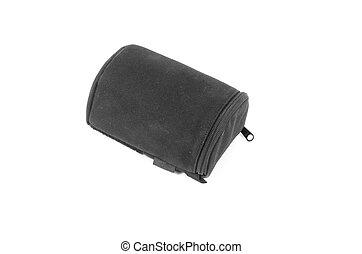 black camera lens bag isolated on white