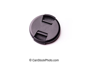 Black camera lens cover isolated