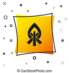 Black Campfire icon isolated on white background. Burning bonfire with wood. Yellow square button. Vector Illustration