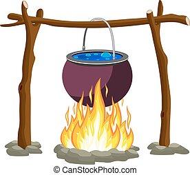 Black camping pot over a bonfire. Vector illustration in flat design