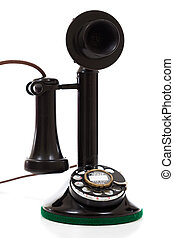 Black candlestick phone on a white background