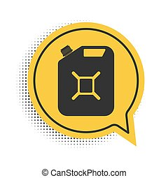 Black Canister for gasoline icon isolated on white background. Diesel gas icon. Yellow speech bubble symbol. Vector