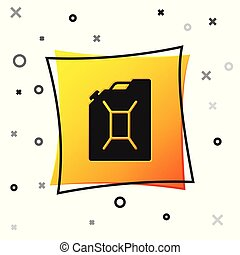 Black Canister for gasoline icon isolated on white background. Diesel gas icon. Yellow square button. Vector Illustration