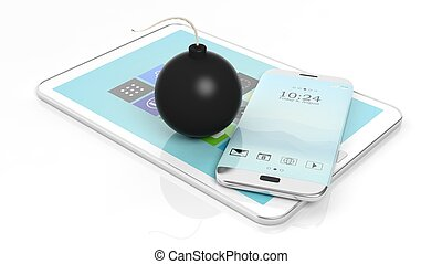 Black cannonball bomb with smartphone and tablet, isolated on white background.