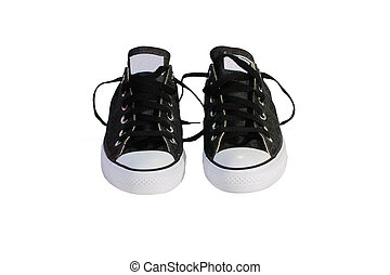 black canvas shoes with white background