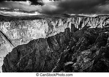 Black Canyon of the Gunnison National Park Black and white -...