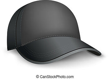black cap - The black mesh empty template cap on the white...