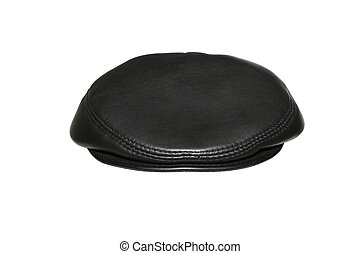 black cap on white background