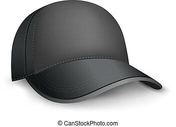 black cap - The black mesh empty template cap on the white...