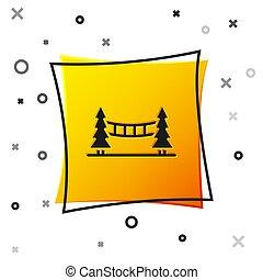 Black Capilano Suspension Bridge in Vancouver, Canada icon isolated on white background. Yellow square button. Vector