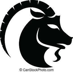Black Capricorn Zodiac Star Sign - Illustration of Black...