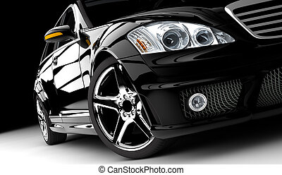 Black car - A black car isolated on a dark background