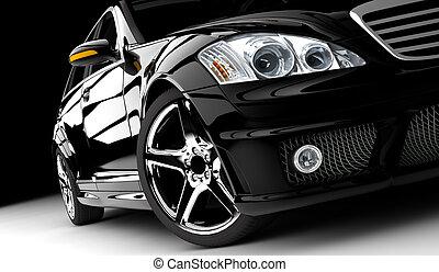 Black car - A black car isolated on a dark background