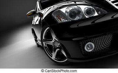 Black car - A modern and elegant black car illuminated
