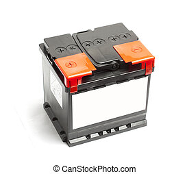 Black car battery isolated on a white background.