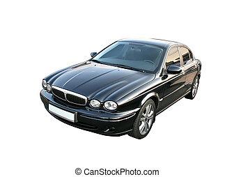 Black car - Black luxury sedan isolated over white