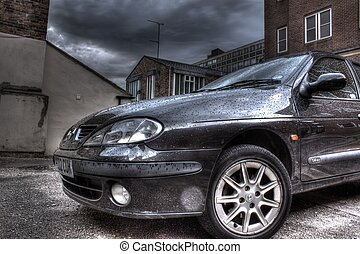 Black car in the rain, hdr image