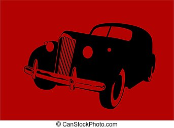 black car on a hazy red background. Vector drawing for logo and illustrations.