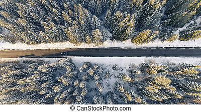 Black car on road in winter scenery, from above.
