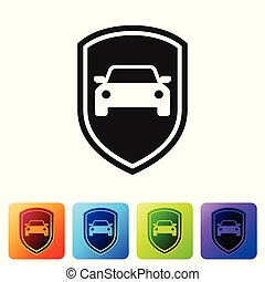 Black Car protection or insurance icon isolated on white background. Protect car guard shield. Safety badge vehicle icon. Security auto label. Set icon in color square buttons. Vector Illustration