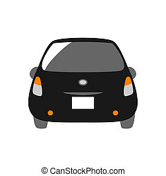 black car, rear view
