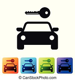 Black Car rental icon isolated on white background. Rent a car sign. Key with car. Concept for automobile repair service, spare parts store. Set icon in color square buttons. Vector Illustration