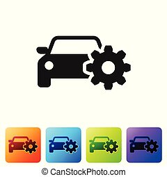 Black Car service icon isolated on white background. Auto mechanic service. Mechanic service. Repair service auto mechanic. Maintenance sign. Set icon in color square buttons. Vector Illustration