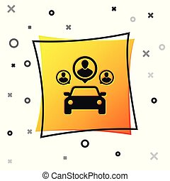 Black Car sharing with group of people icon isolated on white background. Carsharing sign. Transport renting service concept. Yellow square button. Vector Illustration