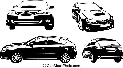 Black car vector ilustratiaon - Black and vhite car vector...