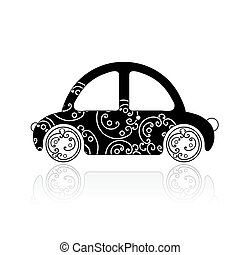 Black car with floral ornament for your design