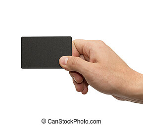 black card in hand on white background