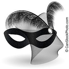 on an white background is a carnival black half mask decorated with veil and feathers