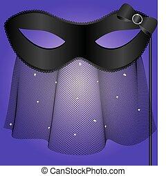 black carnival half-mask with veil