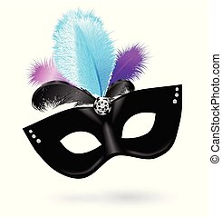 Black carnival mask with blue pink violet feathers on white background