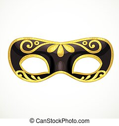 Black carnival mask with golden ornament object isolated on white background