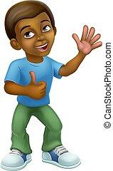 Black Cartoon Boy Child Kid Giving Thumbs Up