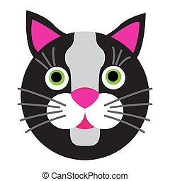 Black cartoon cat with green eyes on white