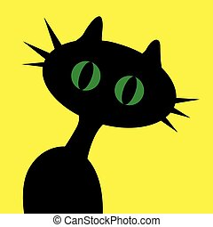 Black cartoon cat with green eyes on yellow