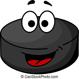 Black cartoon ice hockey puck - Cute black cartoon ice...