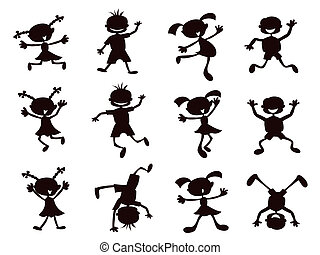 black silhouette of cartoon kids playinig on white background