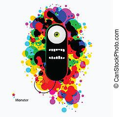 Black cartoon psychedelic monster - Black cartoon monster on...