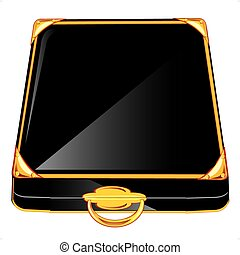 Black case with gold handle on white background