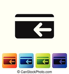 Black Cash back icon on white background. Credit card. Financial services, money refund, return on investment, savings account, currency exchange. Set icon in color square buttons. Vector Illustration
