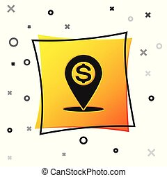 Black Cash location pin icon isolated on white background. Pointer and dollar symbol. Money location icon. Business and investment concept. Yellow square button. Vector Illustration