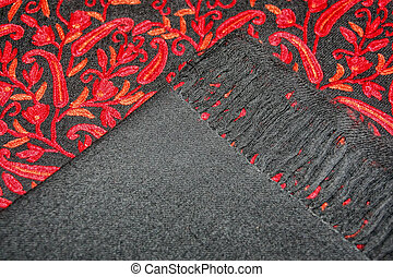 beautiful black cashmere shawl with delicate red embroidery