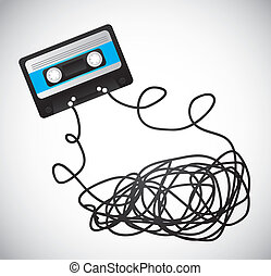 cassette - black cassette with tape over gray background....