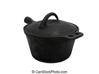 Black cast-iron pot on white background