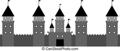 black castle on white background. Vector